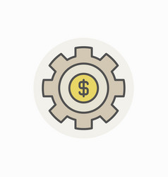 Cogwheel with dollar colorful icon vector