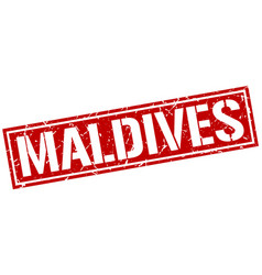 Maldives red square stamp vector