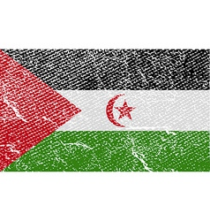Flag of western sahara with old texture vector