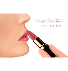 Lipstick and happy female lip vector
