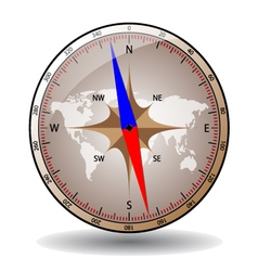 Shiny glass compass with world map vector