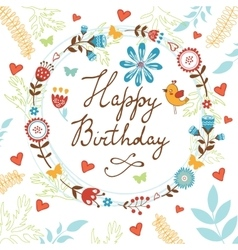 Happy Birthday card with flowers birds and vector image