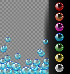 Colorful bubbles on translucent and black vector