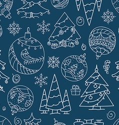 Christmas doodle elements seamless background vector