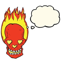 Cartoon flaming skull with love heart eyes with vector