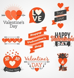 Set of valentines day typography elements red and vector