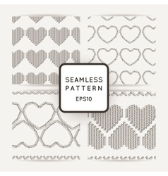 Set of seamless patterns with embroidered vector