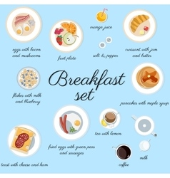Big breakfast set isolated on blue top view vector