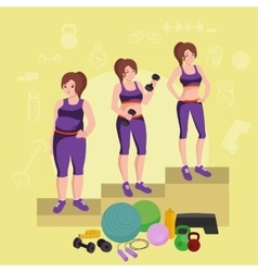 Before and after weight loss women concept fitness vector