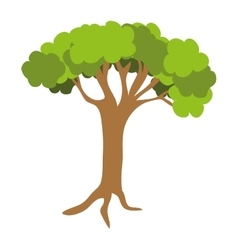 Green tree with trunk graphic vector
