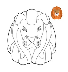 Lion coloring book head of predator with shaggy vector
