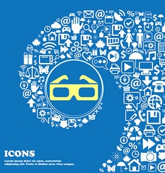 3d glasses icon nice set of beautiful icons vector