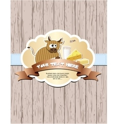Card with cow milk cheese and butter vector