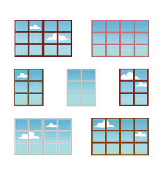 A set of window frames in different colors vector