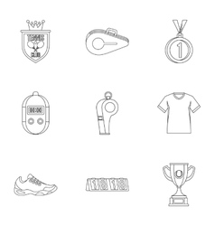 Big tennis icons set outline style vector