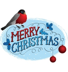 Bird on a tree in winter Christmas greeting card vector image
