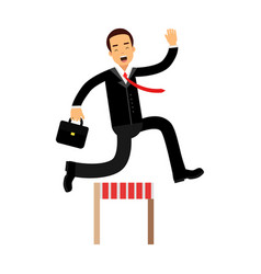 businessman character racing over hurdle obstacles vector image