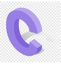 C letter in isometric 3d style with shadow vector
