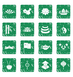 China travel symbols icons set grunge vector