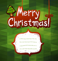 Christmas green card label for text vector image