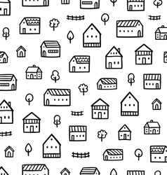 City houses doodle pattern vector image vector image