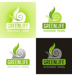 Ecological symbol logo icon set with snail shell vector