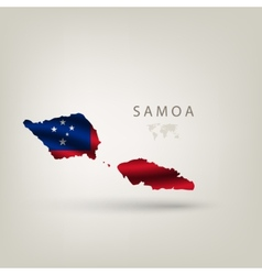 Flag of SAMOA as a country with a shadow vector image