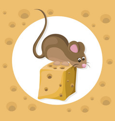 funny cute mouse character on a cheese slice vector image