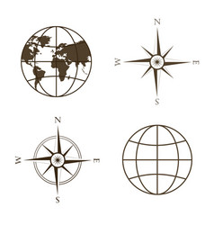 globe wind rose compass vector image vector image
