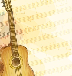 Guitar on music background vector image