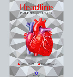 human heart in low poly on 3d geometric texture vector image