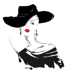 Modern girl sketch red lips white background vector image vector image