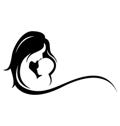 mother and baby silhouette vector image