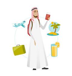 Muslim man traveler holding passport with ticket vector
