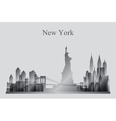 New York city skyline silhouette in grayscale vector image