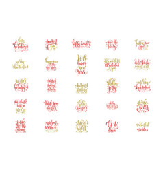 set of 25 red and gold hand lettering merry vector image vector image