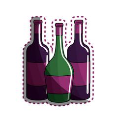 Sticker different wine bottles icon vector