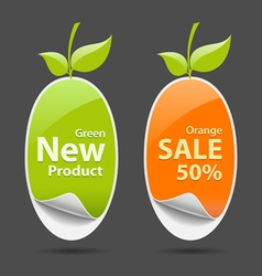 Sticker green and orange price tag vector image
