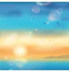 Sunset seaside background vector