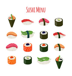 sushi - asian food with fish riceseaweed caviar vector image vector image