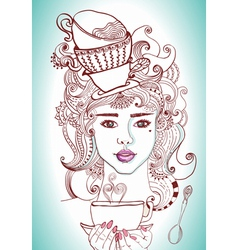 tea time girl vector image vector image