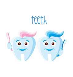Teeth on white background vector