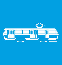 Tram icon white vector