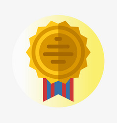trophy champion medal flat icon winner gold vector image vector image