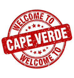 Welcome to cape verde red round vintage stamp vector