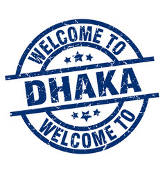 Welcome to dhaka blue stamp vector