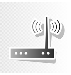 Wifi modem sign new year blackish icon on vector