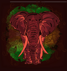 Indian elephant on the watercolor blot vector