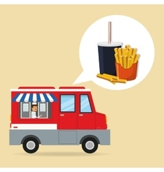 Soda french fries and fast food design vector