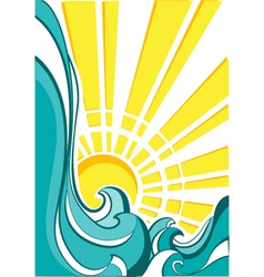 Sea waves of nature poster with yellow sun vector